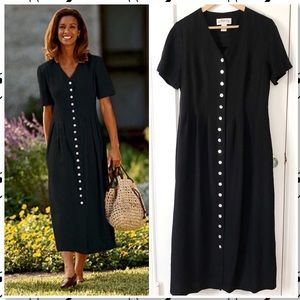 ORVIS Linenweave Black Lagenlook Maxi Dress
